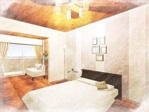 ナチュラルモダンをテーマにした一室は南向きのバルコニーから差し込む光と相まってシックかつ穏やかな部屋になっています。